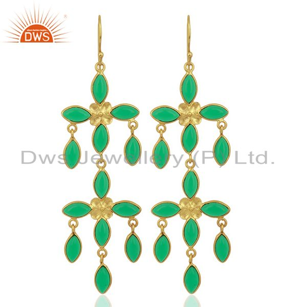 Green Stone Handmade Long Dangle 14K Gold Plated Fashion Earring