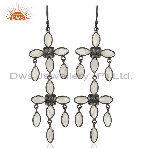 Natural Rainbow Moonstone Designer Chandelier Earrings Made In Oxidized Brass