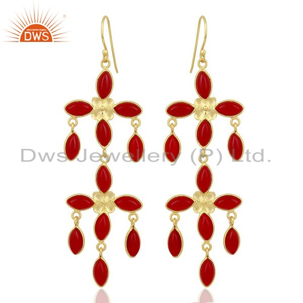 Handmade Red Ruby Glass Designer Chandelier Earrings Made In Oxidized Brass