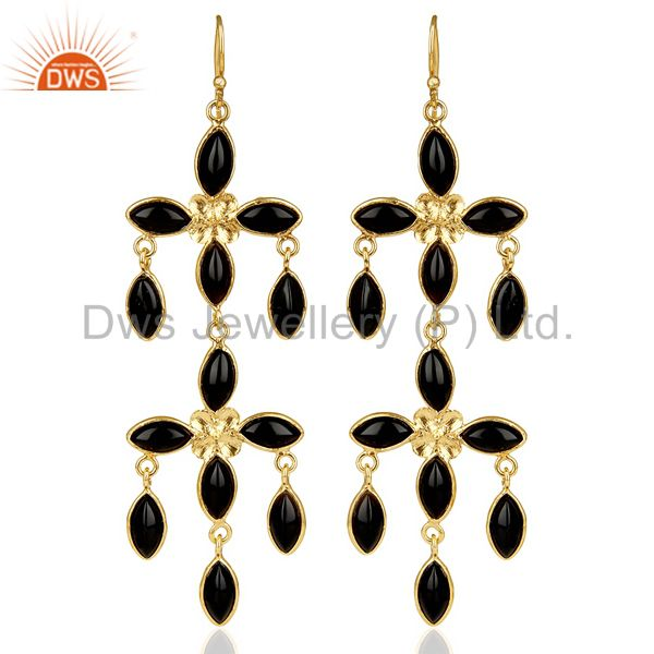 14K Gold Plated Traditional Handmade Natural Black Onyx Chandelier Earrings