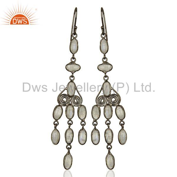 Rhodium Plated Rainbow Moonstone Fashion Earrings Jewelry Supplier