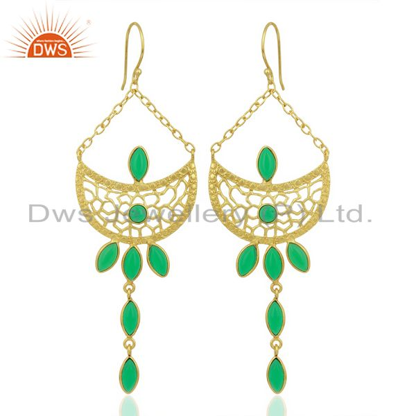 Green Stone Long Filigreen 14K Gold Plated Fashion Earring