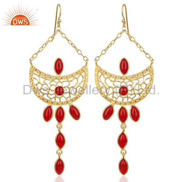 14K Gold Plated Traditional Handmade Red Hydro Dangle Fashion Earrings