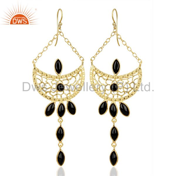 14K Gold Plated Handmade Natural Black Onyx Bezel Set Dangle Brass Earrings