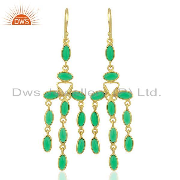Green Stone Long Dangle Fashion Spring Season Jewelry