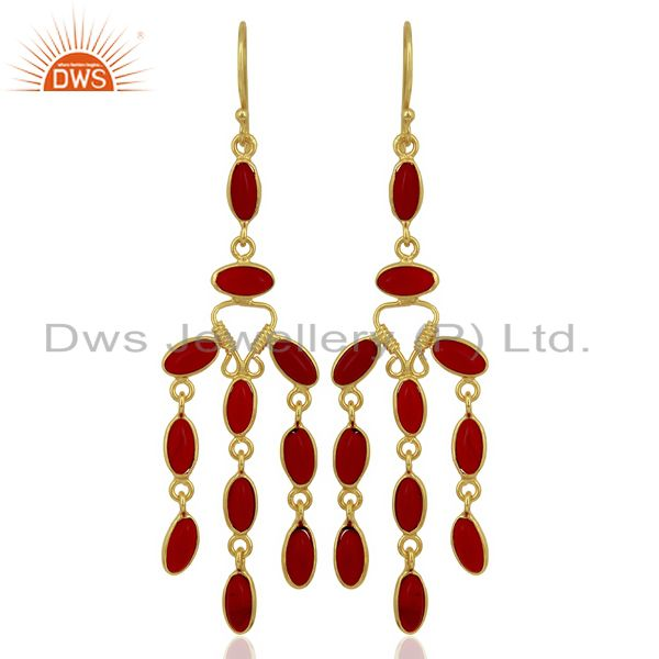 Red Hydro Long Dangle Fashion Spring Season Jewelry