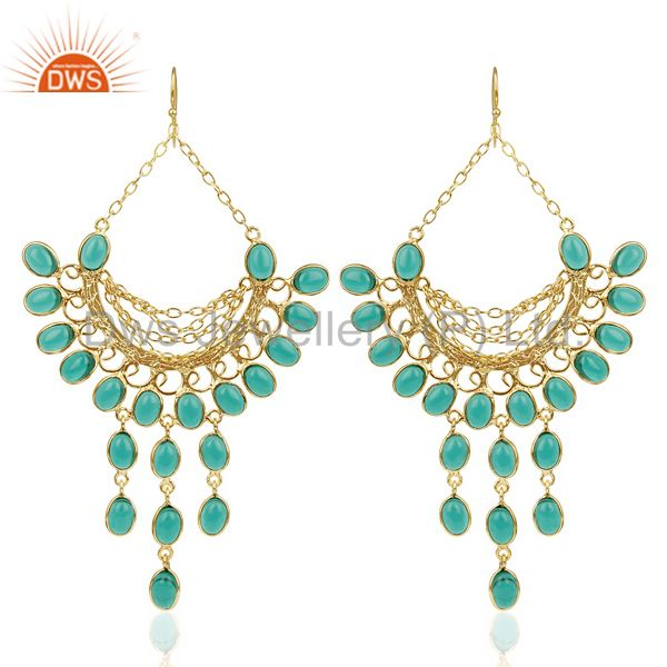 14K Gold Plated Traditional Handmade Hydro Emerald Chandelier Dangle Earrings