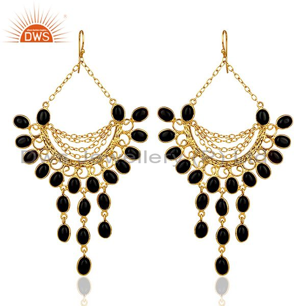 Black Honeycomb Large Dangle Gold Plated Fashion Earring Gift Jewelry