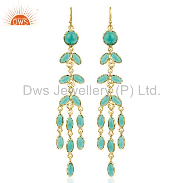 14K Gold Plated Traditional Handmade Hydro Emerald Chandelier Fashion Earrings