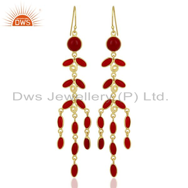 Red Hydro Long Leaf Pattern Gold Plated Fashion Wholesale Jewelry