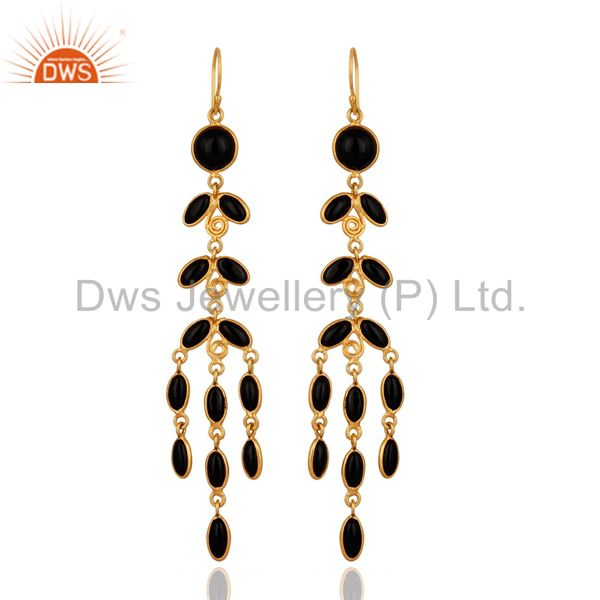 Genuine Semi Precious Gemstone Black Onyx 18K Gold Plated Long Dangle Earrings