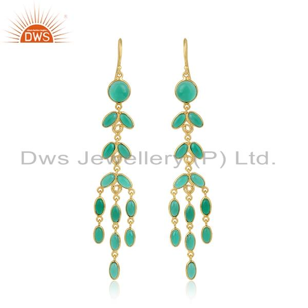 Designer handcrafted gold plated fashion long earring green onyx
