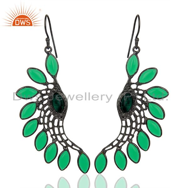 Green Hydro Wings Filigreen Fashion Wholesale Fashion 14K  Gold Plated Earring