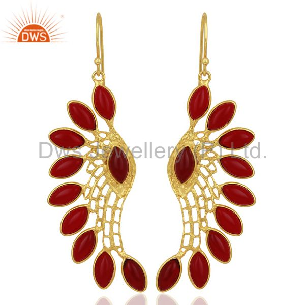 Red Hydro Wing Earring 14K Gold Plated Brass Fashion Jewelry