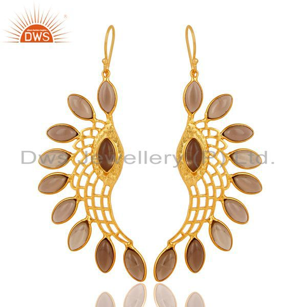 14K Gold Plated Traditional Handmade Smokey Topaz Bezel Set Dangle Brass Earring