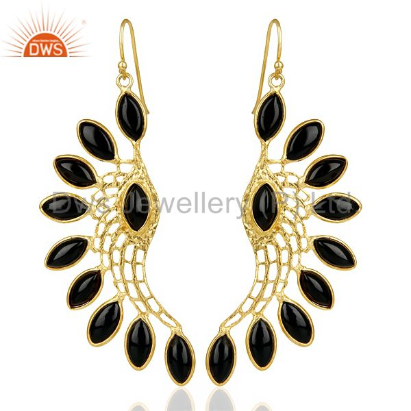 14K Gold Plated Traditional Handmade Black Onyx Bezel Set Dangle Brass Earring