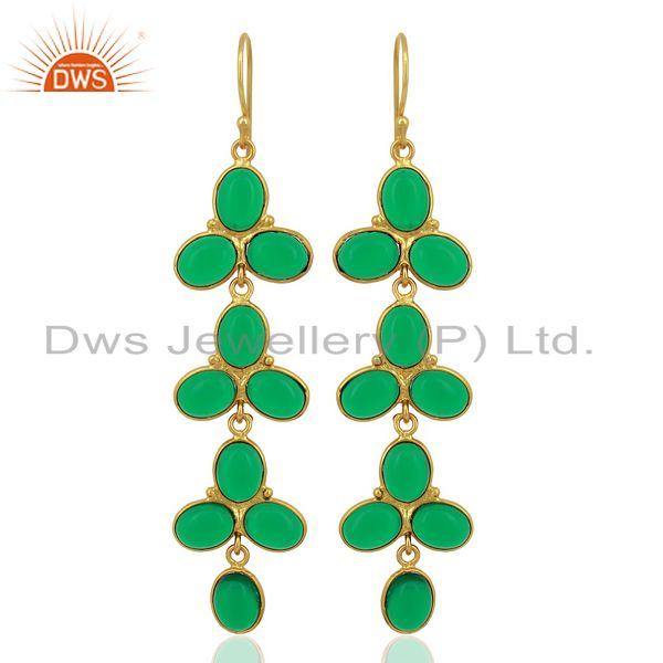 Green Hydro flower Pattern Bezel 14K Gold Plated Fashion Wholesale Jewelry