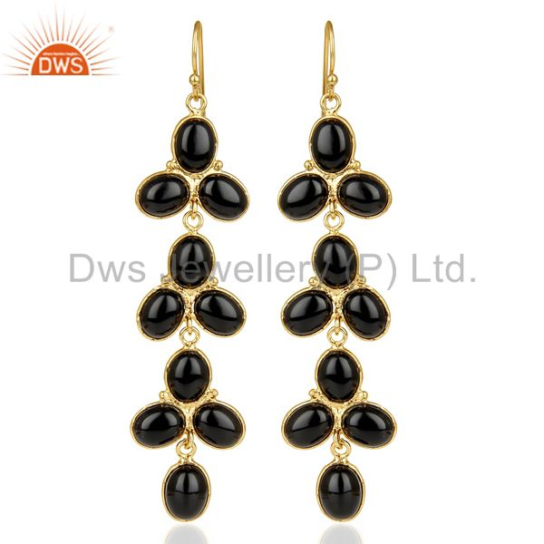 14k Yellow Gold Plated Traditional Handmade Natural Black Onyx Dangle Earrings
