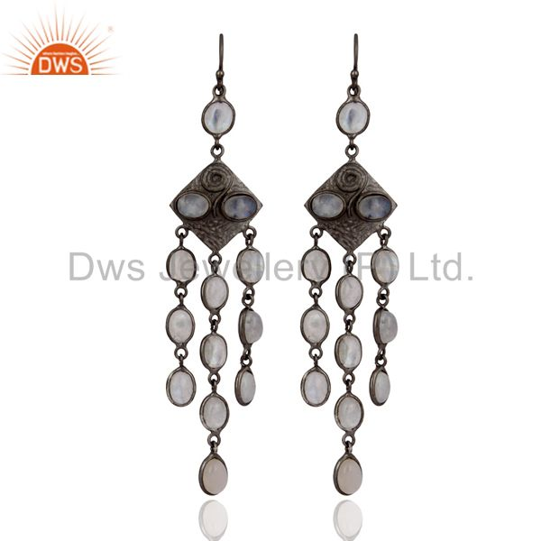 Handmade Chandelier Earrings Rhodium Plated Rainbow Moonstone Fashion Jewelry