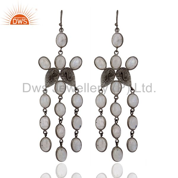 Modern Handcrafted Chandelier Designer Earrings Rainbow Moonstone Jewelry