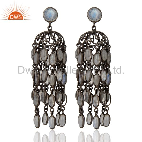 Amazing Extra Long Rainbow Moonstone Dangle Hook Earrings With Rhodium Plated