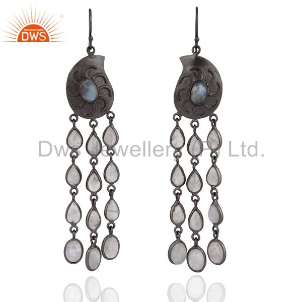 Black Rhodium Plated Over Brass Natural Rainbow Moonstone Dangle Earrings