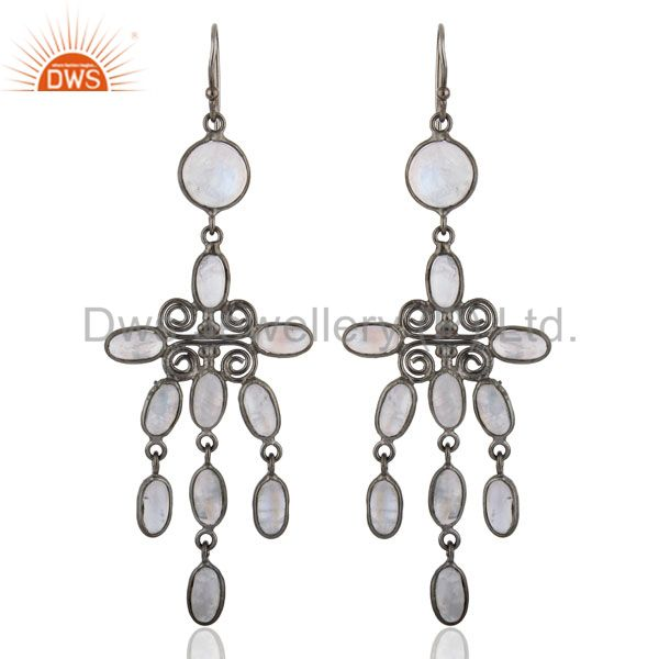Chandelier Dangle Earrings Bezal Set Top Rainbow Moonstone Fashion Women Rhodium
