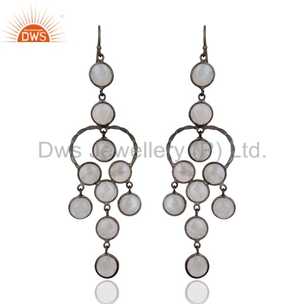 Natural Rainbow Moonstone Black Rhodium Plated Bridal Party Wear Earrings