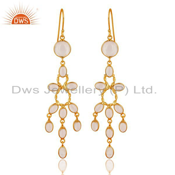 14K Gold Plated Handmade Crystal Quartz Bridal Party Wear Hook Brass Earrings