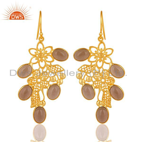 14K Gold Plated Handmade Handmade Flower Design Smokey Topaz Bezel Brass Earring