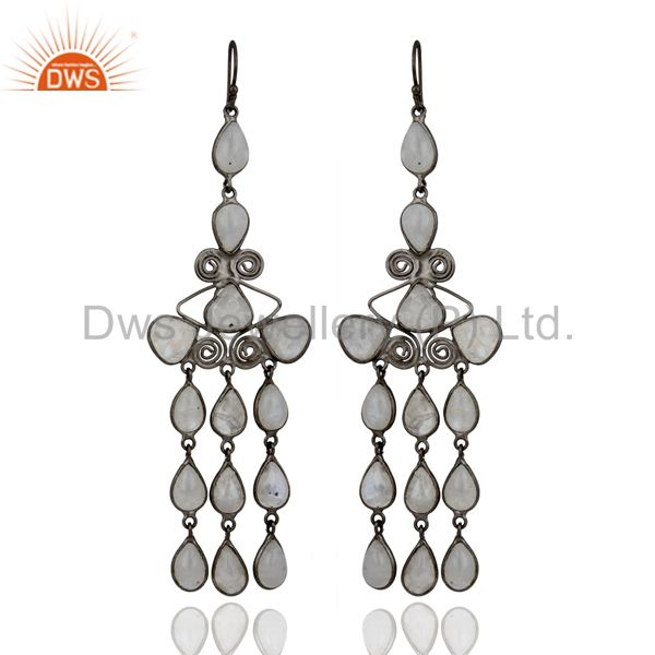 Natural Rainbow Moonstone Gemstone Chandelier Earrings With Black Rhodium Plated