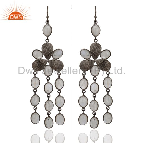 Indian Handcrafted Genuine Rainbow Moonstone Party Wear Long Fashion Earrings