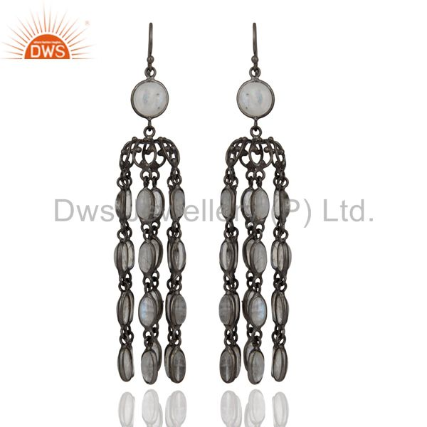 Bridal Party Wear Rhodium Plated Chandelier Rainbow Moonstone Earring Jewelry