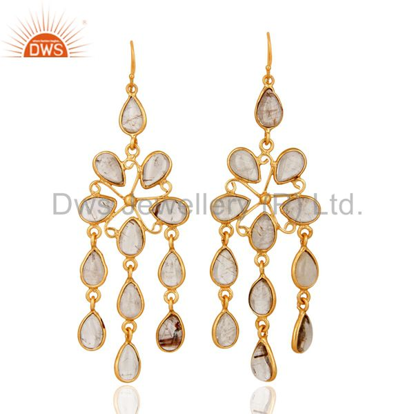 Natural Semi-Precious Gemstone Rutilated Quartz Handmade Gold Plated Earrings