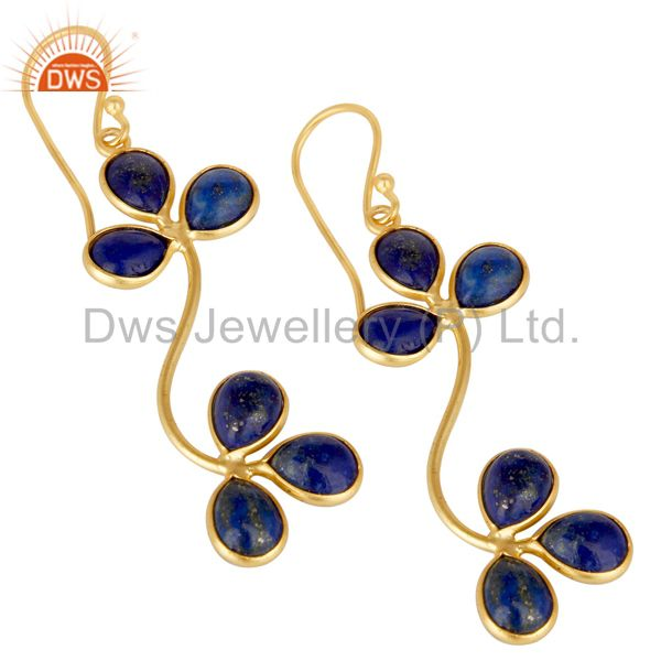 Handmade Lapis Lazuli Gemstone Dangle Earrings Made In 22K Gold Over Brass