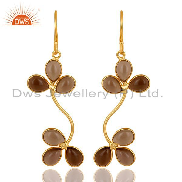 Traditional Handmade Smokey Gemstone Dangle Earrings Made In 22K Gold Over Brass