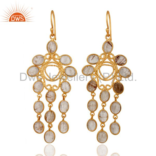 24-Karat Yellow Gold Plated Rutilated Quartz Gemstone Chandelier Style Earrings