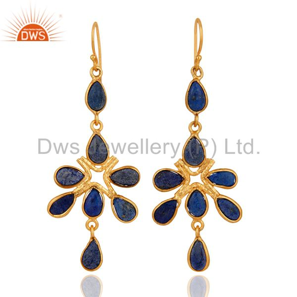 Handcrafted Indian Designer Lapis Lazuli Gemstone Yellow Gold Plated Earrings