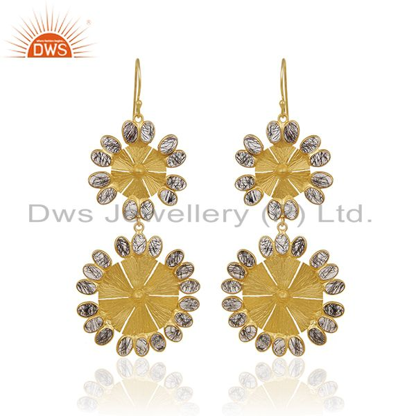 24K Yellow Gold Plated Brass Black Rutilated Quartz Flower Dangle Earrings