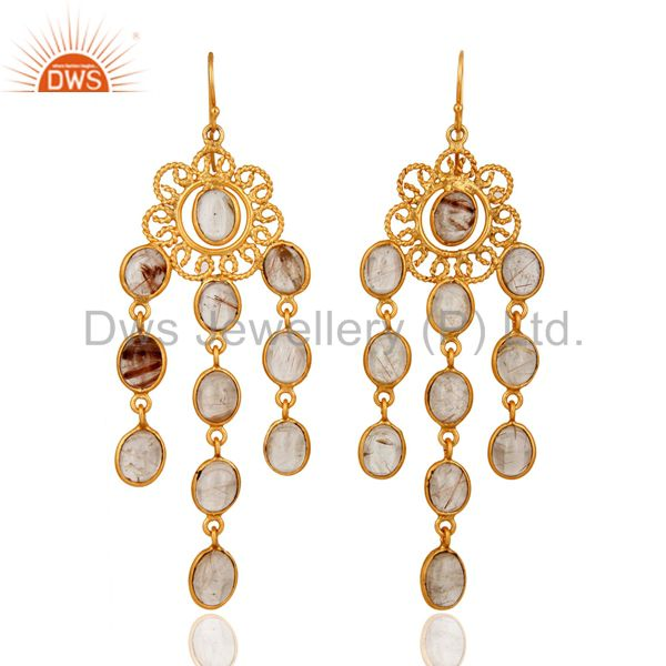 14K Yellow Gold Plated Rutilated Quartz Gemstone Chandelier Earrings For Womens