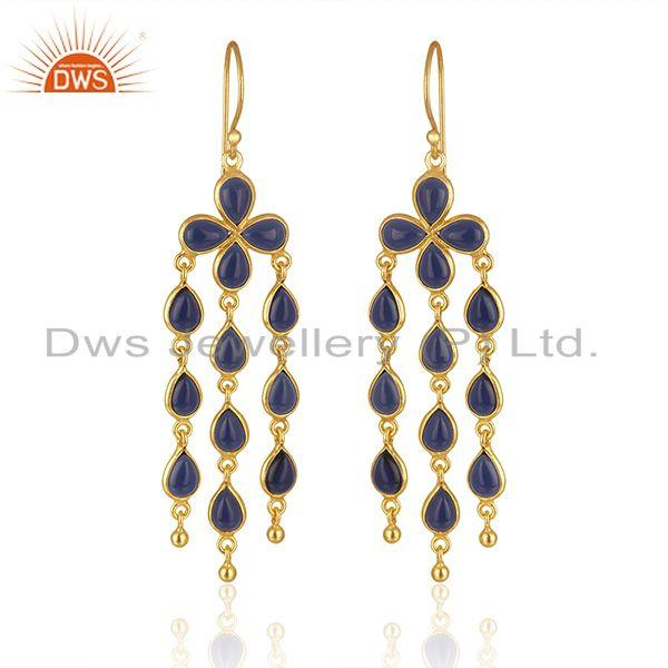 Corundum Blue Gemstone Brass Fashion Chandelier Earring Wholesaler