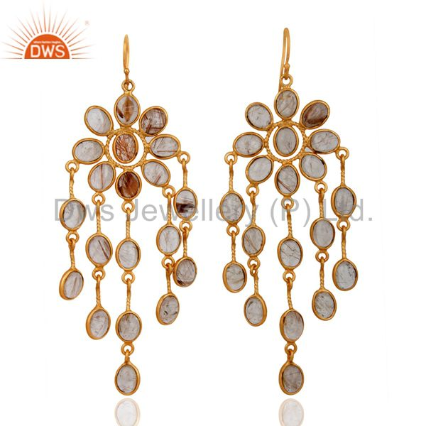 22K Yellow Gold Plated Handmade Natural Rutilated Quartz Chandelier Earrings