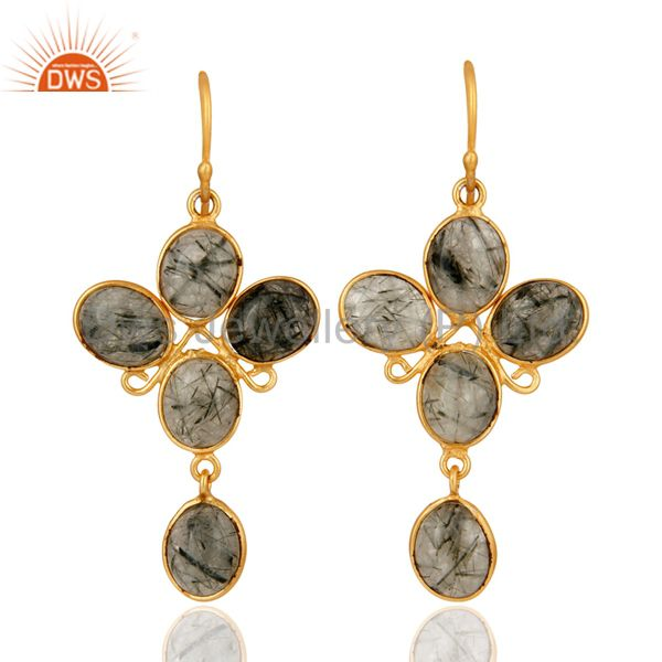 24K Yellow Gold Plated Earrings With Semiprecious Stone Tourmalated Quartz