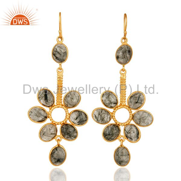Bezel Set Semiprecious Stone Tourmalated Quartz 22K Gold Plated Earrings