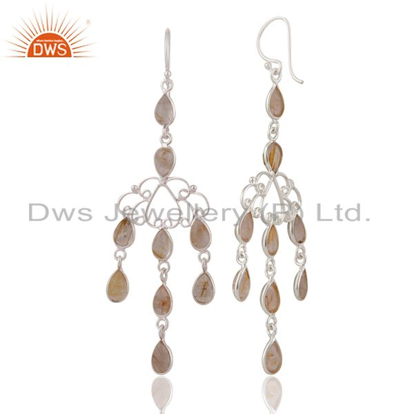 Handmade Sterling Silver Golden Rutilated Quartz Gemstone Chandelier Earrings