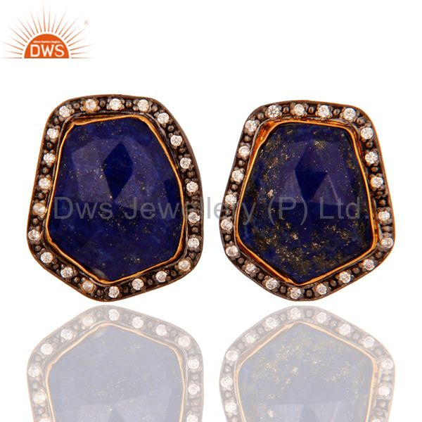 18k Yellow Gold Plated Natural Lapis Lazuli Gemstone Women Stud Earrings