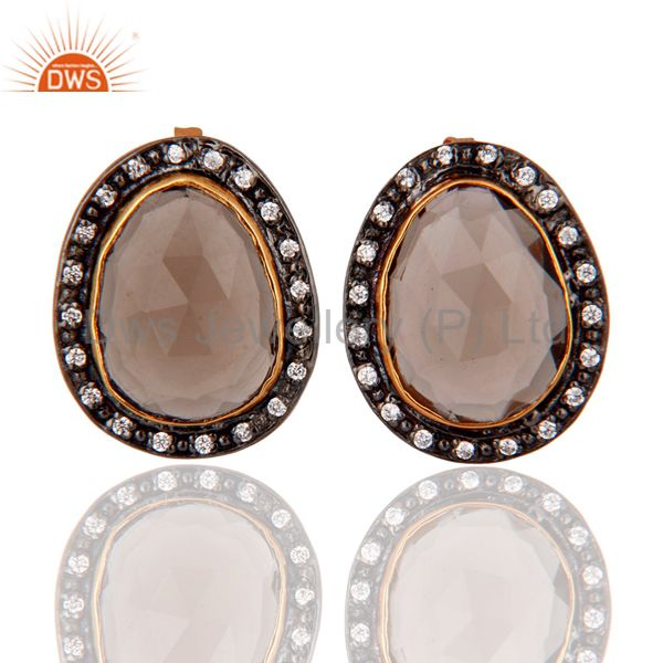 22k Yellow Gold Plated Smoky Quartz CZ Studded Ladies Stud Earrings