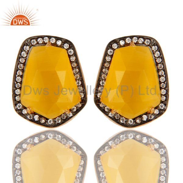 Yellow Moonstone 14K Gold Plated Sterling Silver Stud Earrings With CZ