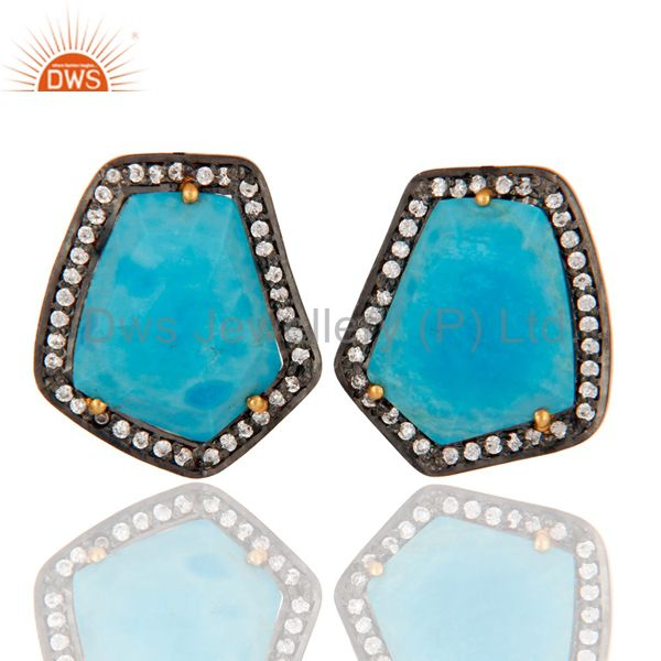 Turquoise Gemstone Stud Earring Made 18k Gold Over Sterling Silver With Zircon