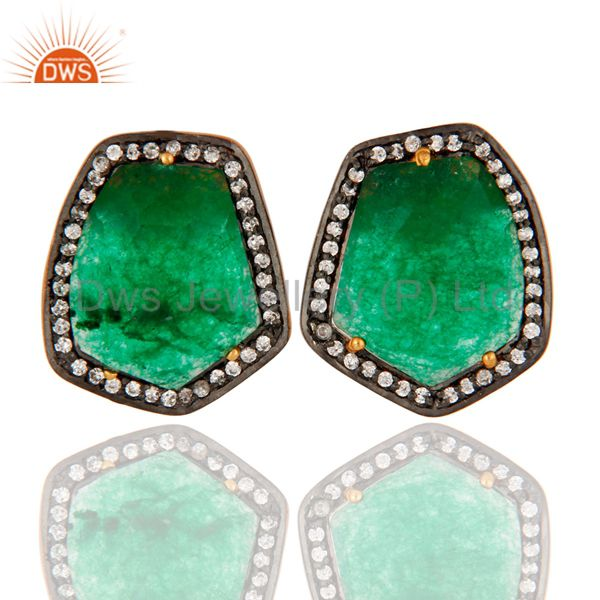 Green Aventurine Gemstone Stud Earrings in 18k Gold Over Sterling Silver Jewelry